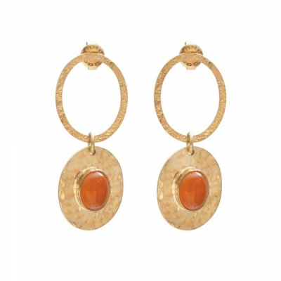 Thankful Garnelian Gold Earrings