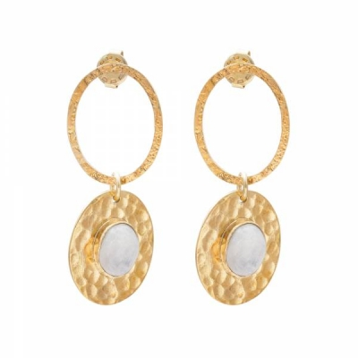 Thankful Moonstone Gold Earrings